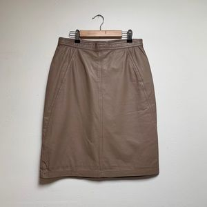 Vintage Taupe Tan Leather Skirt, Size 6